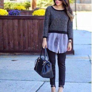 Elie Tahari Gray Mixed Media Layered Sweater Top